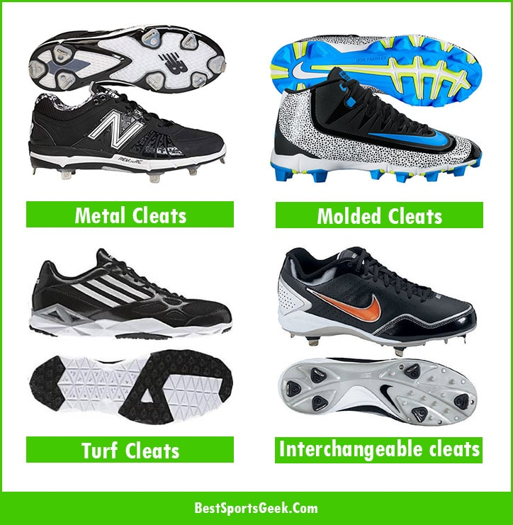different types of baseball cleats